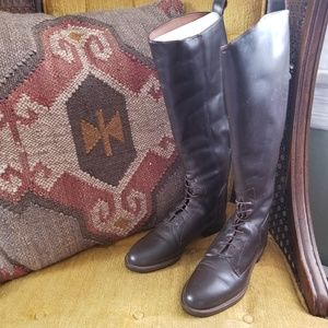 Leather Riding Boots in Dark Brown